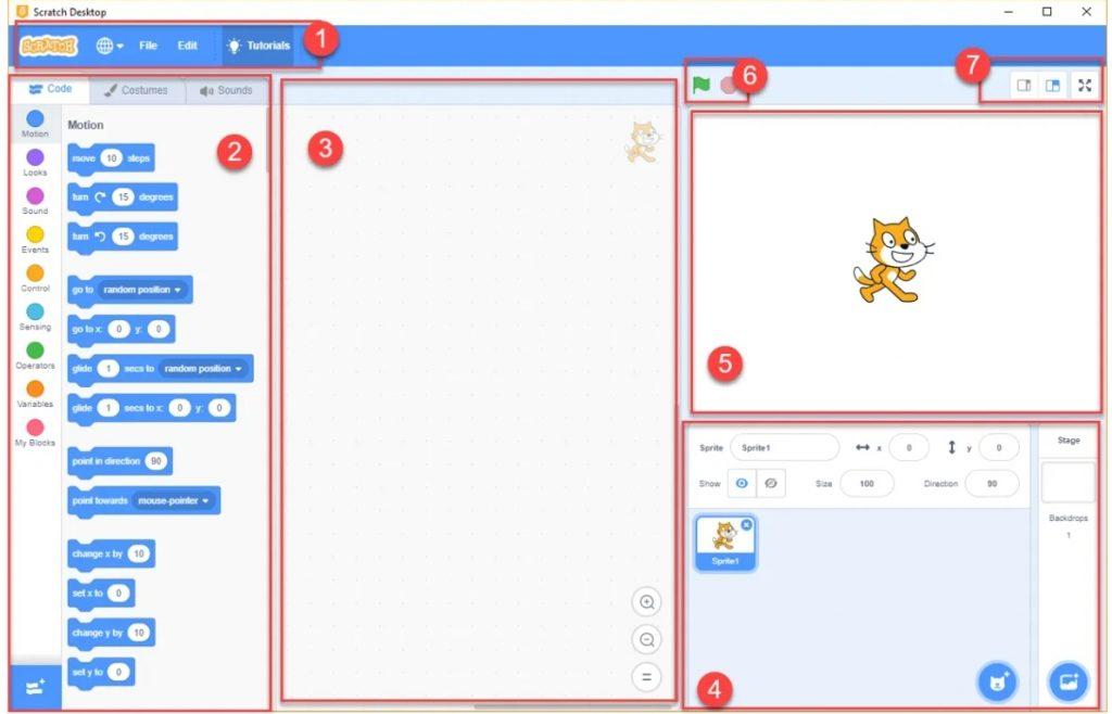 หน้าต่างโปรแกรม Scratch 3.0