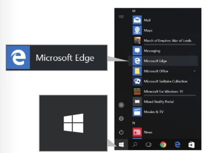 การเลือกโปรแกรม Microsoft Edge