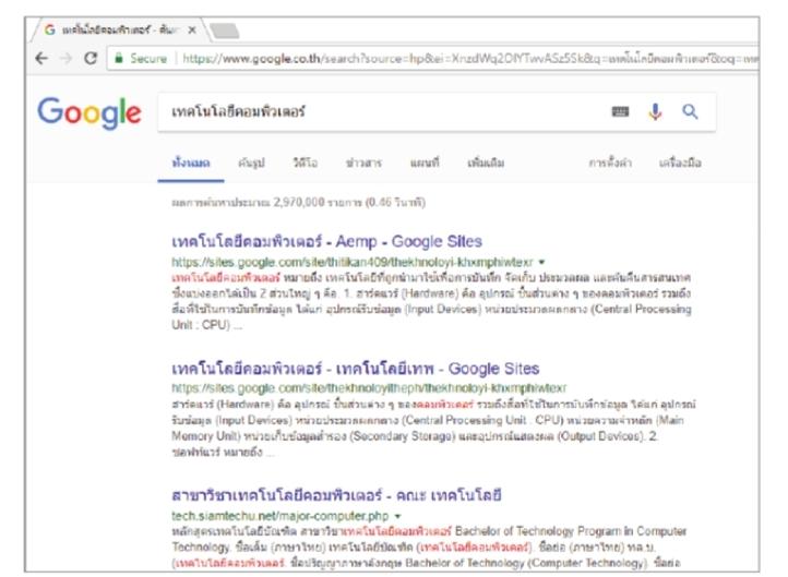 การแสดงข้อมูลจากการค้นหาบนเว็บไซต์ Google