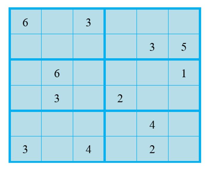 เกมซูโดะกุแบบ 6x6
