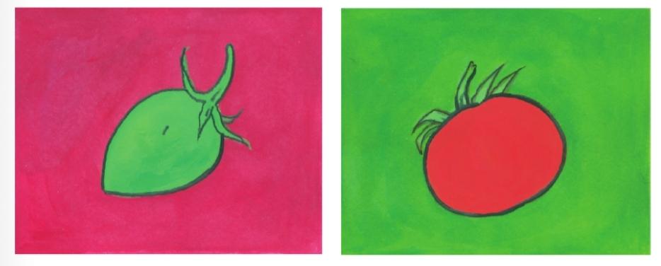 การใช้คู่สีในปริมาณที่แตกต่างกันระหว่างสีแดงและสีเขียว